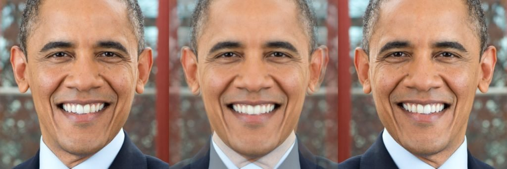 Figure 10 : President Obama made symmetric by averaging his facial image with it's mirror reflection.