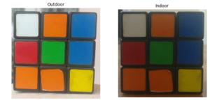Cubes under varying lighting conditions
