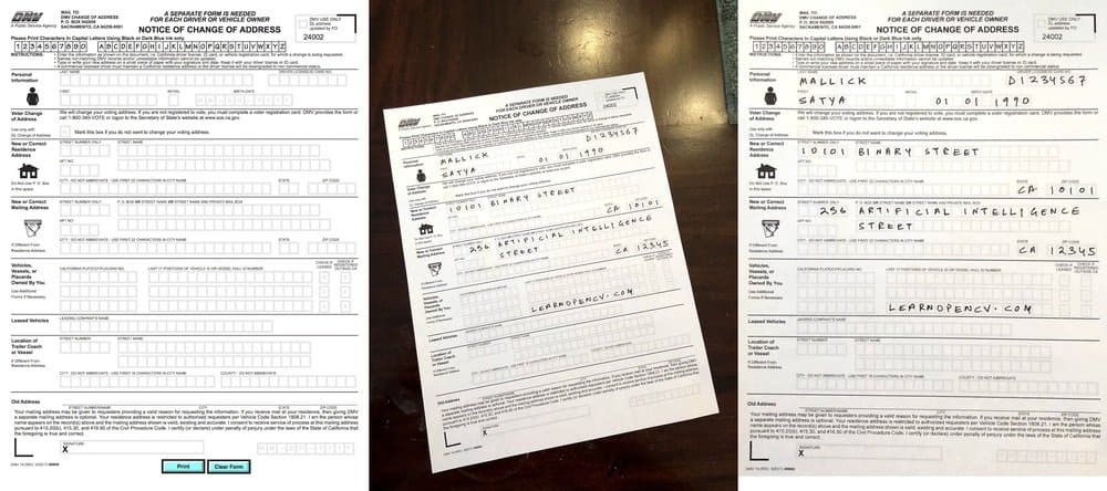 This is an example of image alignment aka image registration. The filled out Department of Motor Vehicles (DMV) form photographed using a mobile phone is aligned to the image of a form downloaded from the DMV site.