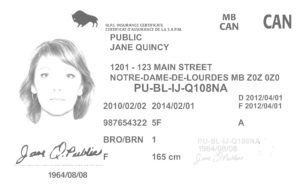Manitoba Province's Driving License Sample without background noise