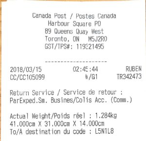 Scanned Canada Post receipt