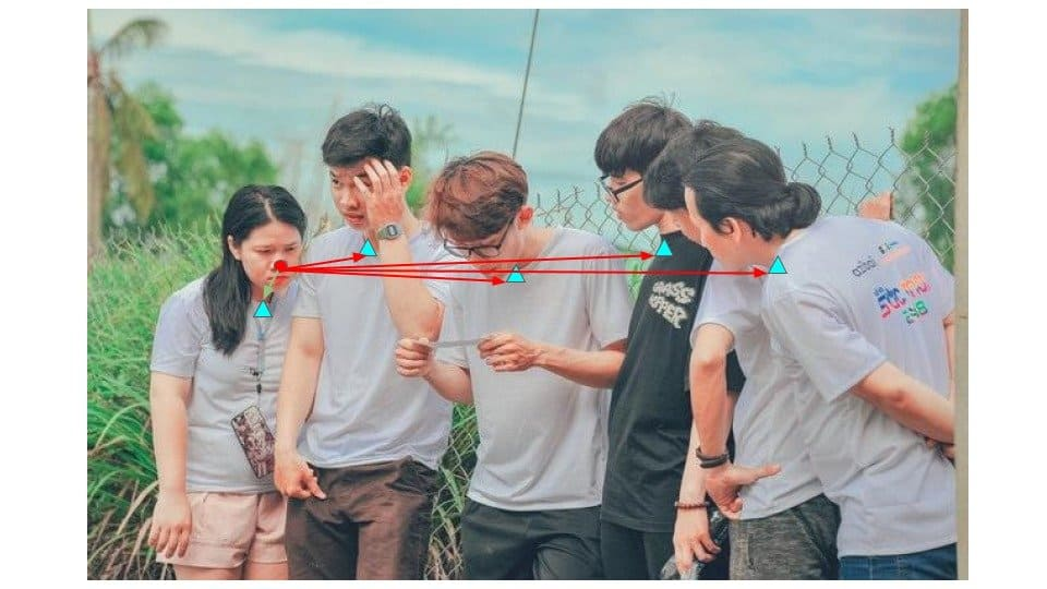 Valid pairs nose neck demo - Image depicting the connection between keypoints by using simple distance measure.