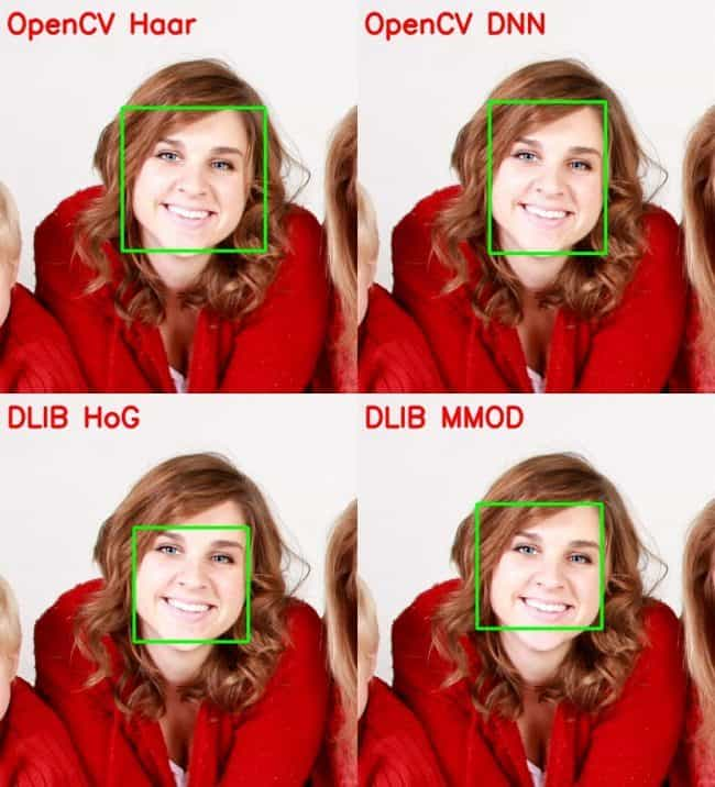 comparing the face detected by OpenCV Haar with DNN, HoG and MOOD – single face tilted to left, occluded with hair