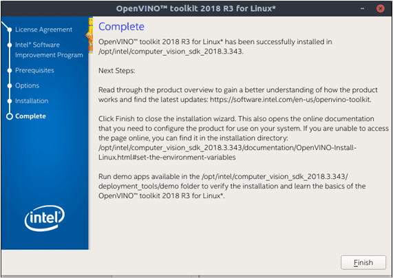 The screenshot from installation steps of OpenVINO toolkit on Linux, installation complete.