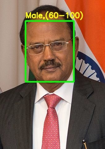 Demo output – Ajit Doval, gender and age group correctly identified.