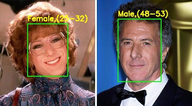 Demo output – Dustin Hoffman in the movie Tootsie – gender incorrectly identified.