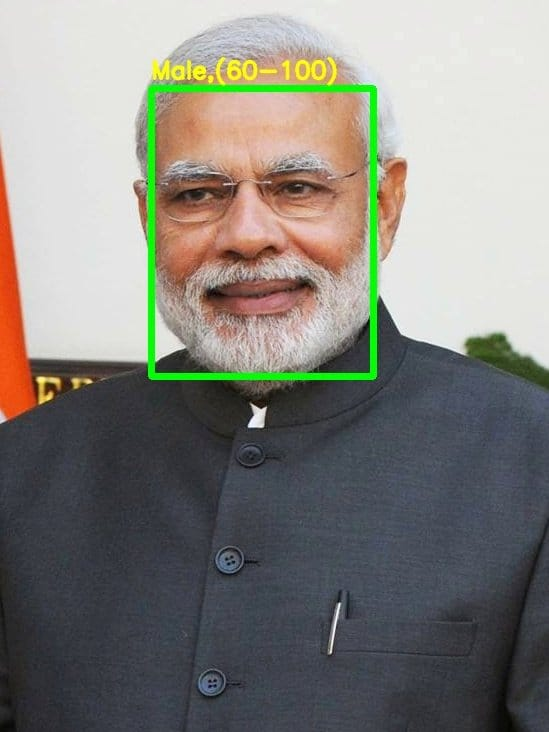 Demo output – PM of india in 2021, Narendra Modi, gender and age group correctly identified.
