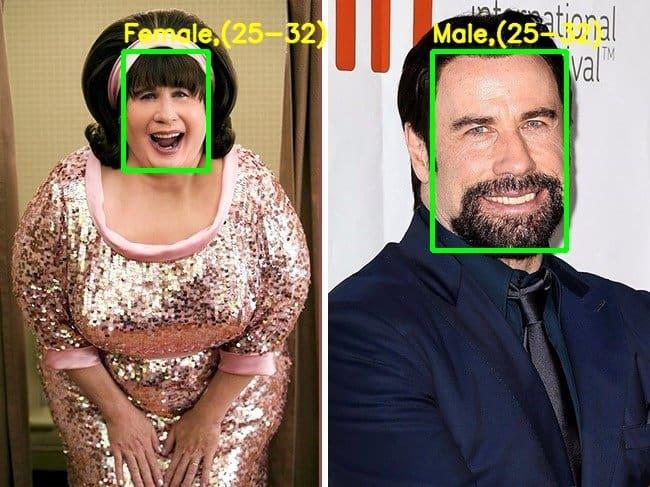 Demo output – John Travolta in the movie Hairspray – gender incorrectly identified.