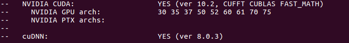 Screenshot of terminal message confirming that Nvidia is on and CUDA has been found.