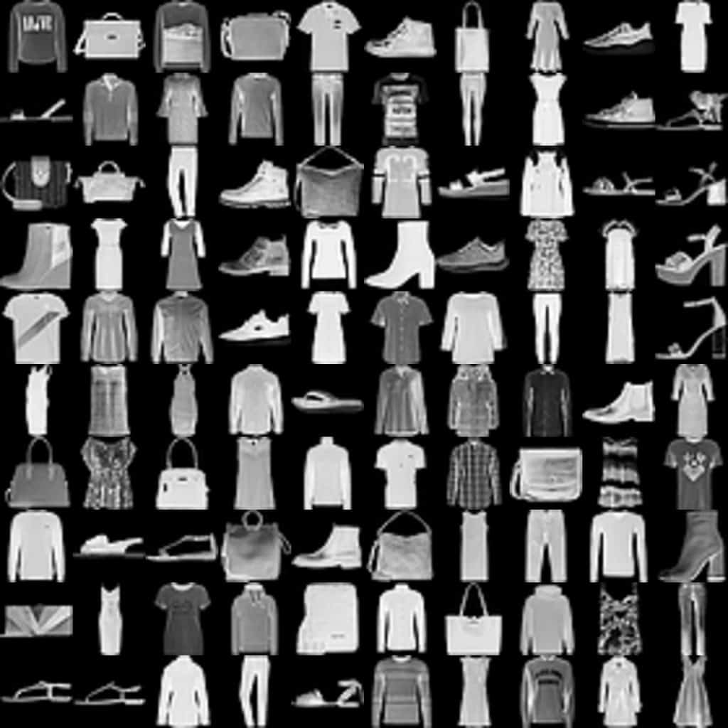Sample images from the famous Fashion-MNIST dataset.