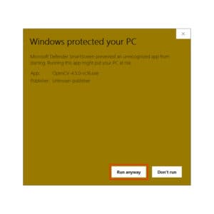 Microsoft Defender SmartScreen asking explicit permission to Run the installer anyway