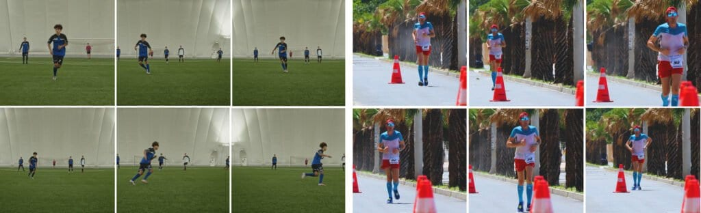 Comparative image with snapshots from two different human activities – playing football and running.