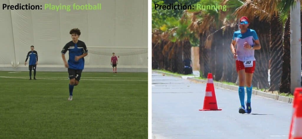 Comparative image showing the output of system, when provided with enough examples. This time the system predicted the activities correctly as playing football and running.
