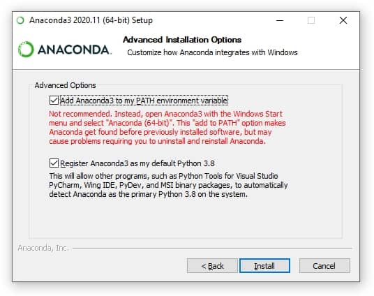 Screenshot showing the advanced options to select when installing Anaconda. Select the option to add Anaconda to the PATH environment variable. Step 1.6 to OpenCV DNN Module with Nvidia GPU on Windows