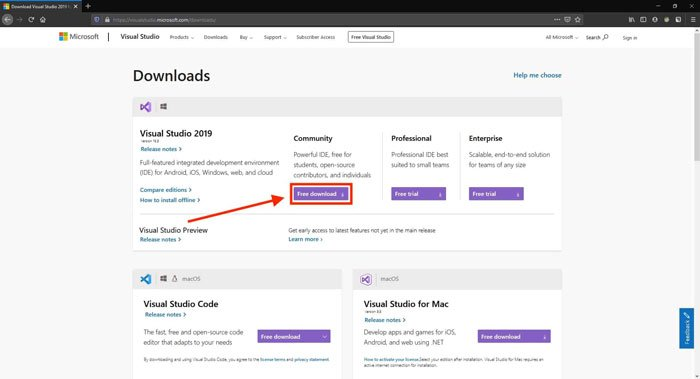 Screenshot of the Visual Studio Download Page, with the version to download highlighted. Step 1.1 to iusing OpenCV DNN Module with Nvidia GPU on Windows