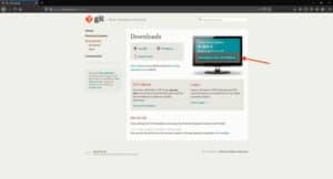 Screenshot of the git download page. The version to download is highlighted.