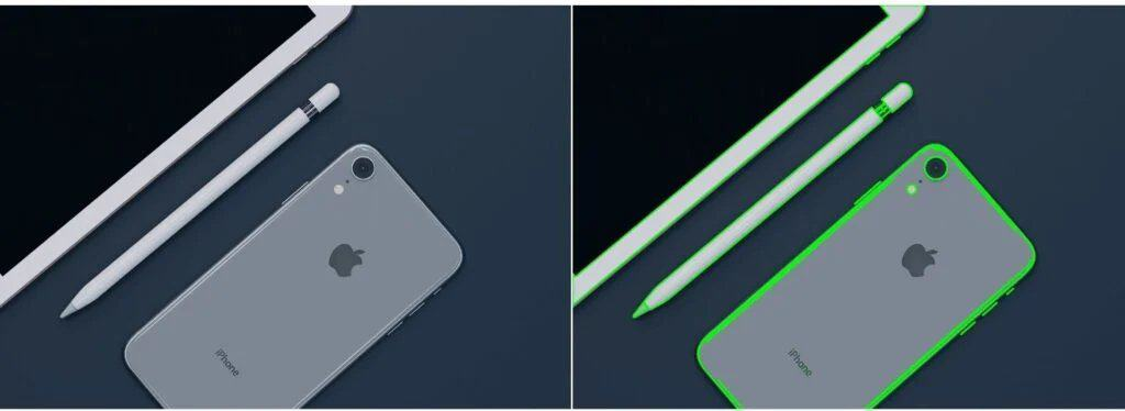Comparison of the input image with the output image with the contours detected overlaid.