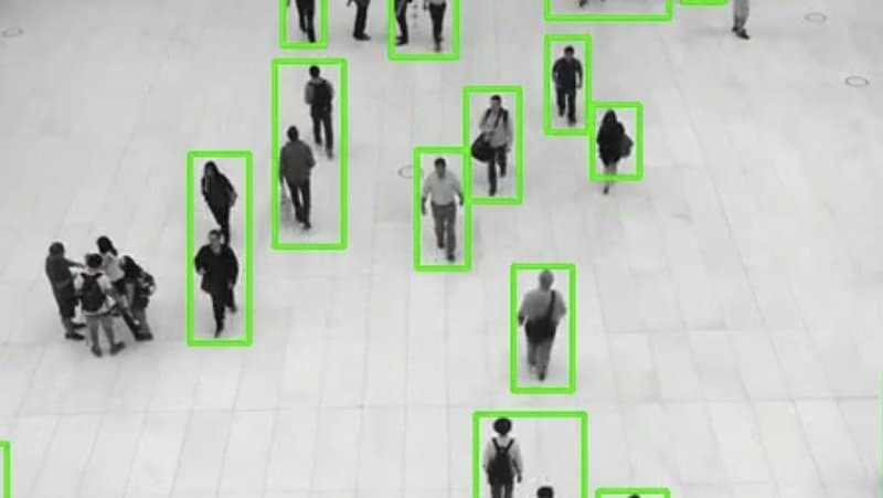 Application of contour detection using OpenCV. Moving object (person) detection using contour detection.