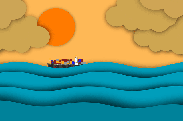 Animated image with sunrise, water, a cargo ship, and clouds. We use this image throughout this article as input for image rotation and translation.