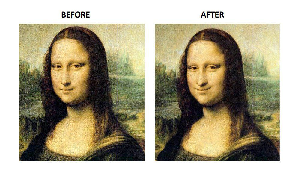 Using a set of control points, we can warp the lip region of Monalisa and make her smile