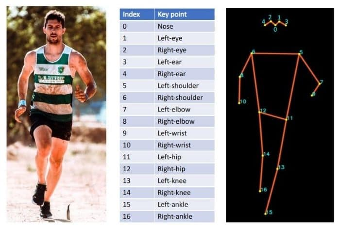 An image showing 17 keypoints on a human body. Left part of the image shows a person, the middle part shows a list of keypoints and the right part shows location of keypoints on the person's body